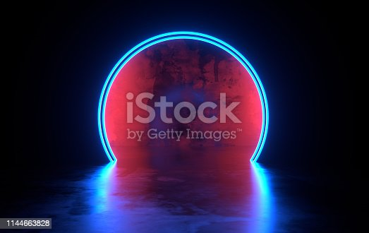 istock Futuristic sci-fi concrete room with glowing neon. Virtual reality portal, vibrant colors, laser energy source. Blue neon lights 1144663828