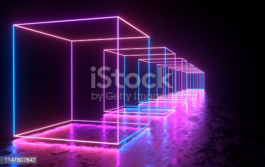 istock Futuristic sci-fi concrete room with glowing neon. Virtual reality portal, computer video games, vibrant colors, laser energy source. Blue, purple, pink gradient neon lights 1147607842
