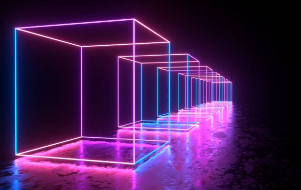 futuristic sci-fi concrete room with glowing neon. virtual reality portal, computer video games, vibrant colors, laser energy source. blue, purple, pink gradient neon lights - fluorescent light stock pictures, royalty-free photos & images