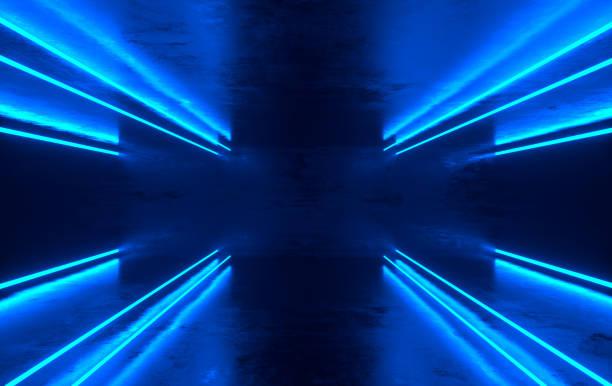 未來派科幻混凝土房與發光的霓虹燈。虛擬實境門戶, 電腦視頻遊戲, 鮮豔的色彩, 鐳射能源。藍色霓虹燈 - 霓虹燈 個照片及圖片檔