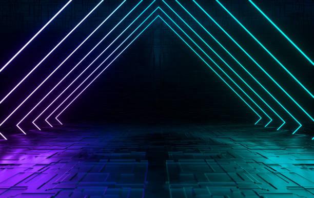 parlak neon ile fütüristik bilimkurgu beton oda. sanal gerçeklik portalı, bilgisayar video oyunları, canlı renkler, lazer enerji kaynağı. mavi neon ışıkları - gaming stok fotoğraflar ve resimler
