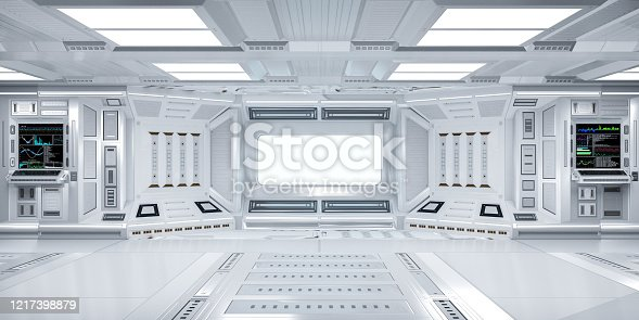 Futuristic Sci-Fi Hallway Interior with  Computer and Monitor Screen on Wall, 3D Rendering