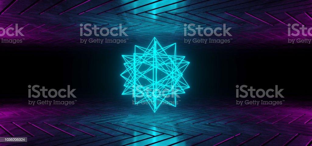 Futuristic Scifi Reflective Dark Room Wallpaper With Purple