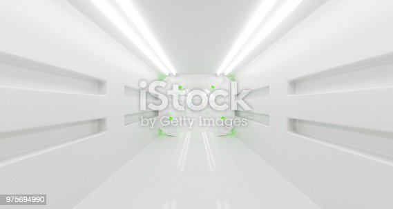 967676748 istock photo Futuristic Sci-Fi Spaceship Corridor With Lighted Abstract Round Elements 3D Rendering 975694990