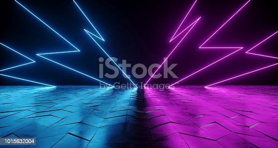 istock Futuristic Sci-Fi Thunderbolt Shaped Neon Tube Vibrant Purple And Blue Glowing Lights On Reflective Tilted Rough Concrete Surface In Dark Room Empty Space 3D Rendering 1015632004