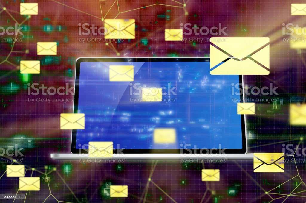 Futuristic Secure Mail Connections Backgrounds stock photo