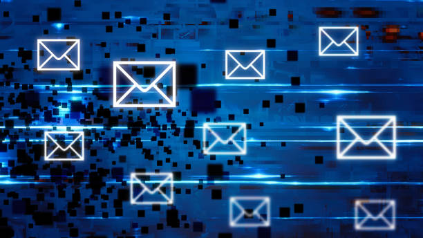 futuristic secure mail connections backgrounds - e mail stock pictures, royalty-free photos & images