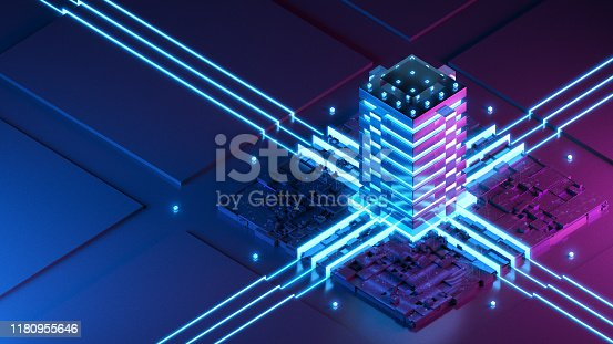 Futuristic Server Concept. Isometric 3D Render