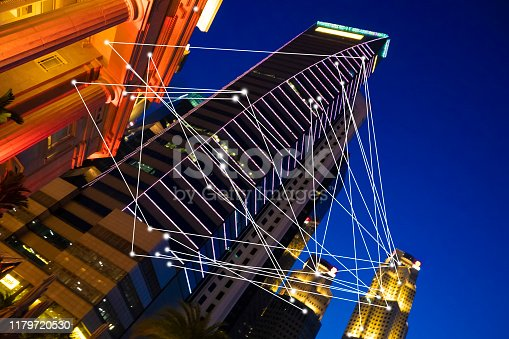 istock Futuristic Singapore electromagnetic signals 1179720530