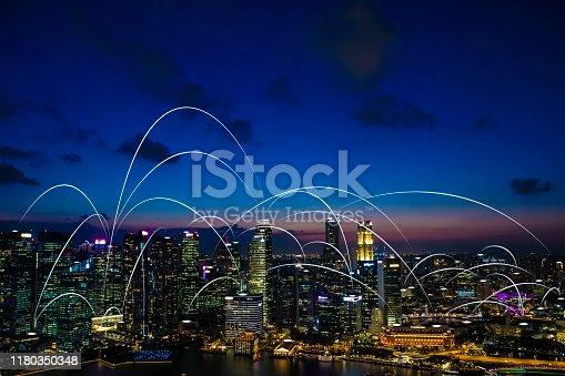 istock Futuristic singapore electromagnetic signals 1180350348