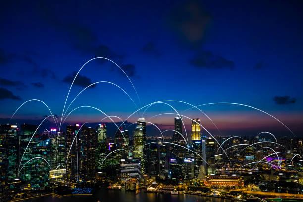 Futuristische singapur elektromagnetische Signale – Foto