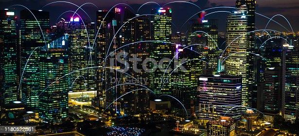 istock Futuristic singapore electromagnetic signals 1180522861