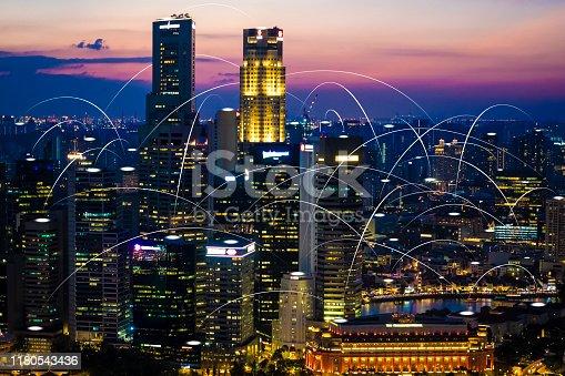 istock Futuristic singapore electromagnetic signals 1180543436