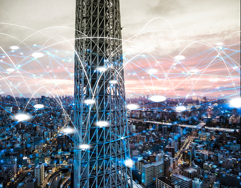 1013969318 istock photo Futuristic sky tower electromagnetic signals 1054514860
