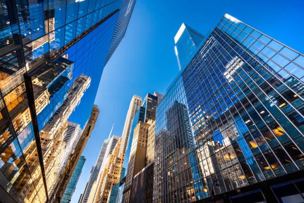 Futuristic skyscrapers in New York City stock photo