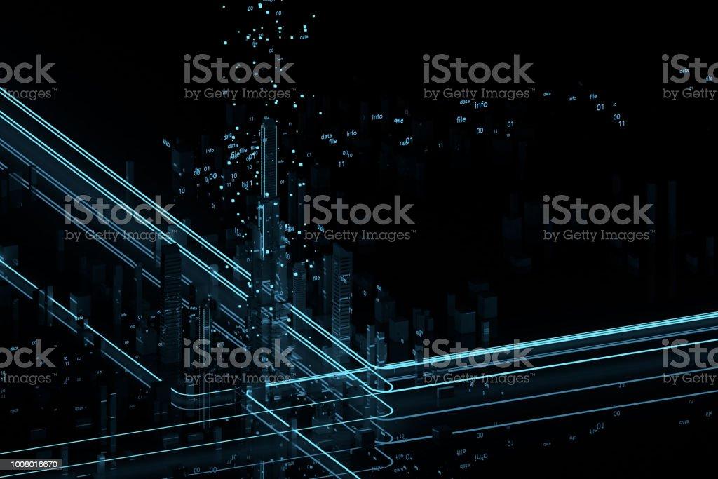 정보 흐름에 미래의 고층 빌딩입니다. 디지털 데이터의 흐름입니다. 미래의 3d 렌더링의 도시입니다. 3D 그림입니다. 스톡 사진