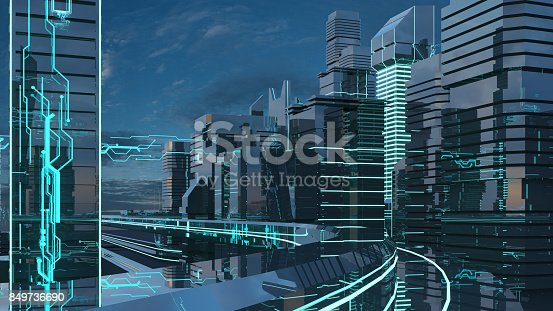 istock Futuristic skyscrapers in the flow. The flow of digital data. city of the future. 3D illustration. 3D rendering 849736690