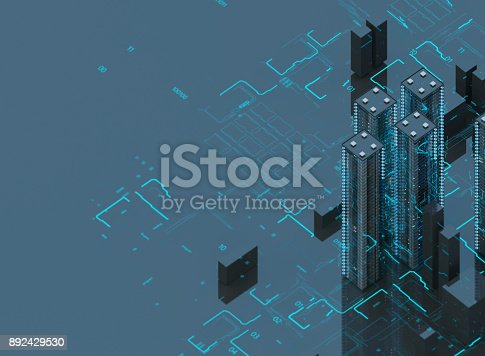 istock Futuristic skyscrapers in the flow. The flow of digital data. city of the future. 3D illustration. 3D rendering 892429530