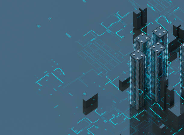 Futuristic skyscrapers in the flow. The flow of digital data. city of the future. 3D illustration. 3D rendering stock photo