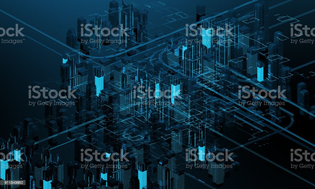 Futuristic skyscrapers in the flow. The flow of digital data. city of the future. 3D illustration. 3D rendering royalty-free stock photo
