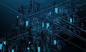 istock Futuristic skyscrapers in the flow. The flow of digital data. city of the future. 3D illustration. 3D rendering 911343952