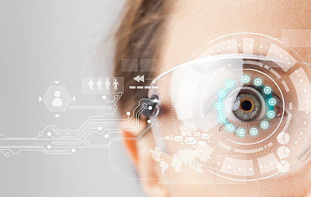 futuristic smart glasses - augmented reality stock photos and pictures
