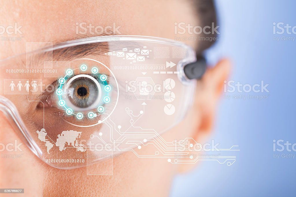 Futuristic smart glasses stock photo