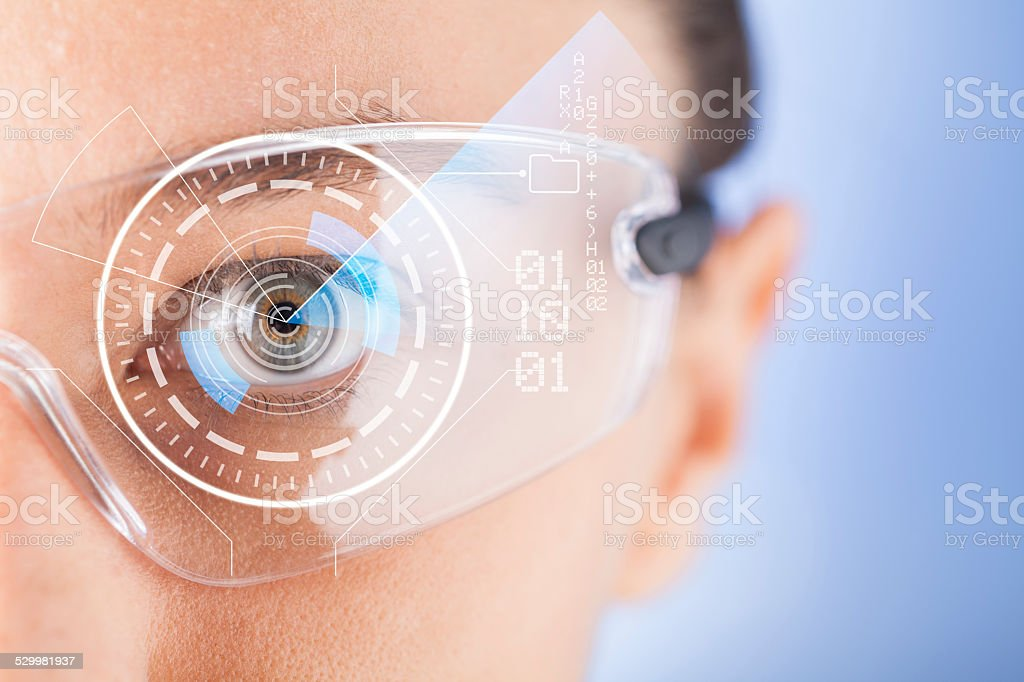 Futuristic smart glasses stock photo