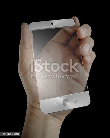 istock Futuristic Smart Phone and Blank Screen 491647758