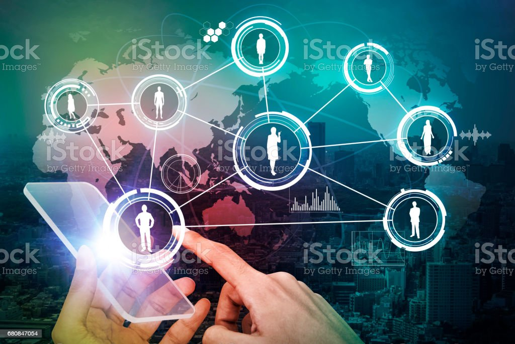 futuristic smart phone and connection of world people, abstract image visual royalty-free stock photo