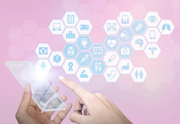 futuristic smart phone and medical concept, abstract image visual - medical technology стоковые фото и изображения