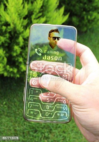 499664303istockphoto Futuristic Smart Phone Calling 837713078