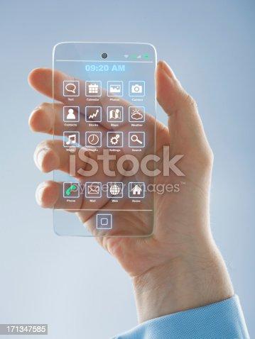 istock Futuristic smartphone in the hands 171347585