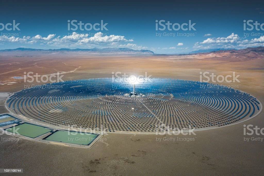 Futuristic Solar Thermal Power Station stock photo