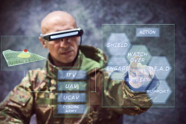 futuristic soldier fighting stock photo