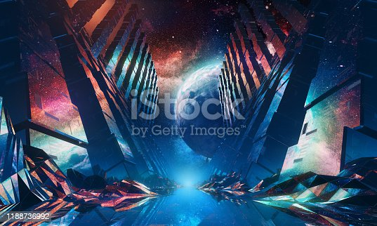Futuristic 3D render of a glossy tunnel in an outer space against nebula and unknown planet. 80s retro style. Video Loop