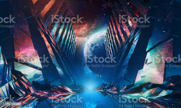 Photo of Futuristic Space Tunnel 80s style. 3D Render