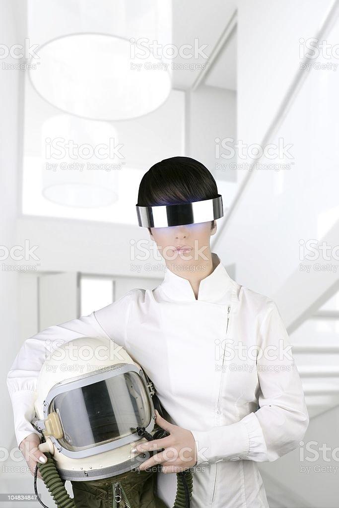 futuristic spaceship aircraft helmet astronaut woman stock photo