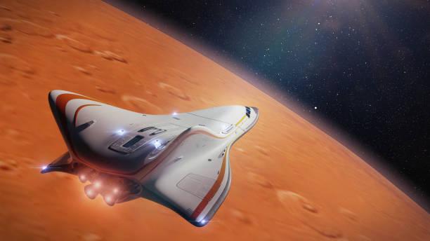 futurista nave espacial em órbita do planeta marte, missão espacial para o planeta vermelho (renderização 3d) - exploração espacial - fotografias e filmes do acervo