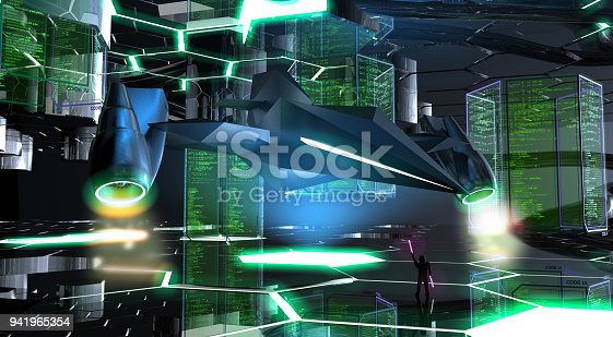 istock Futuristic Spaceship in The Base 941965354