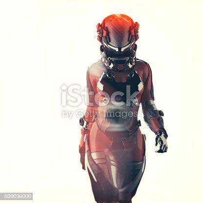 Futuristic spacesuit, astronaut, cyborg.