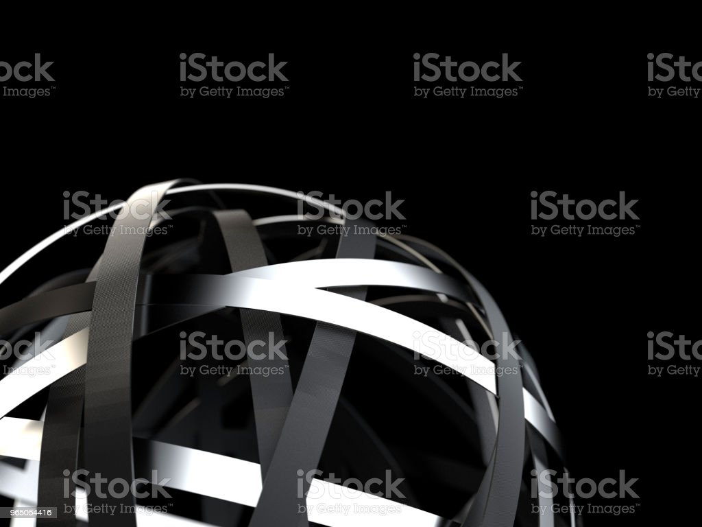 Futuristic sphere with chrome and black rings royalty-free stock photo