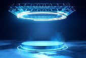 Futuristic Stage Platform with Lighting