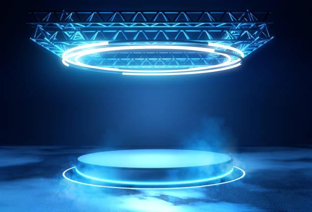 Futuristic Stage Platform with Lighting stock photo