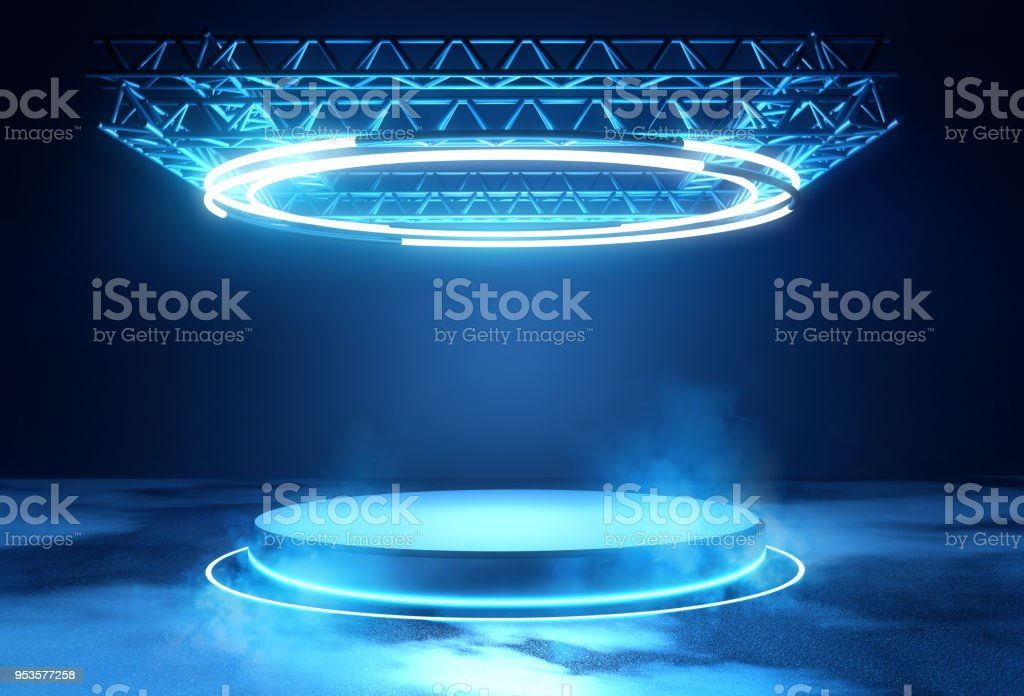 Futuristic Stage Platform with Lighting stock photo