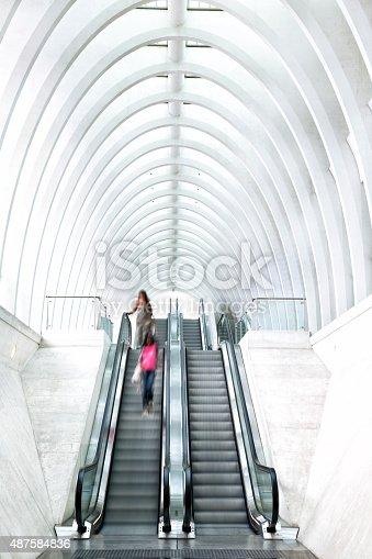 istock Futuristic Staircase in Modern Railroad Station 487584836
