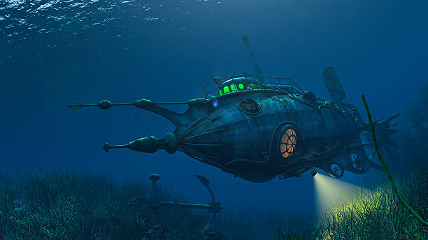futuristic steampunk submarine - nautilus stock pictures, royalty-free photos & images