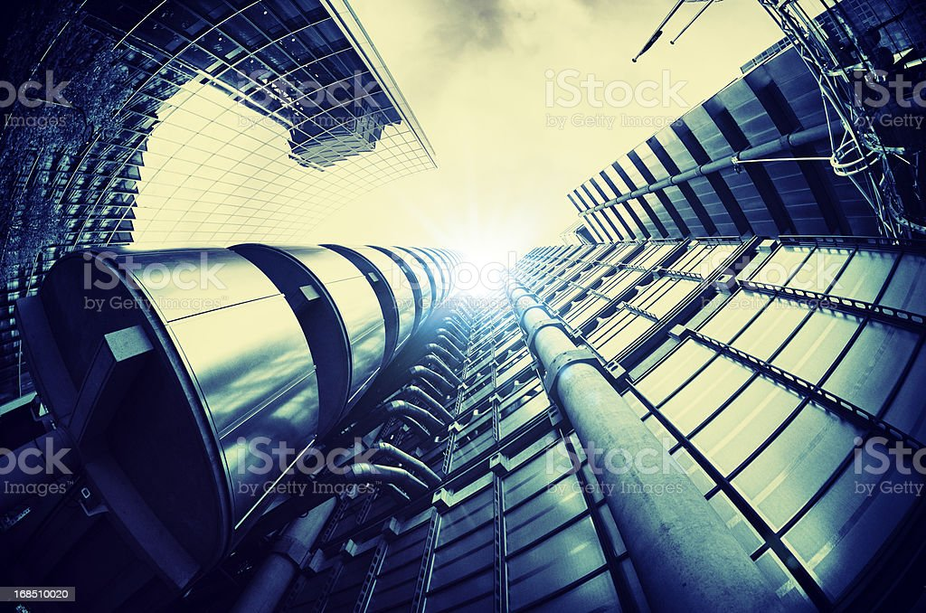 Futuristic steel building in London stock photo