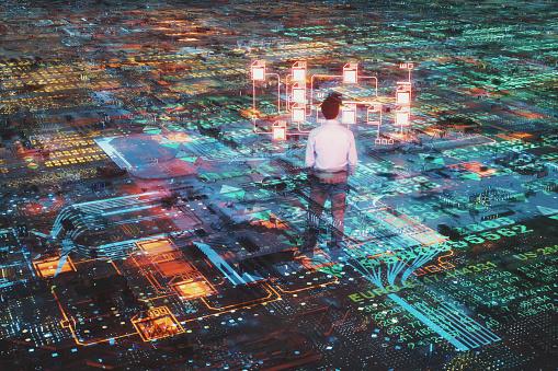 Futuristic stock exchange data display. 3D generated image.