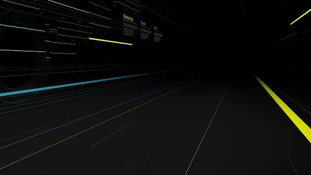 futuristic street and buildings lights - tron sci fi bildbanksfoton och bilder